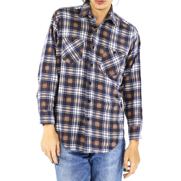 Space Blue, Ochre & White Plaid Cotton Flannel