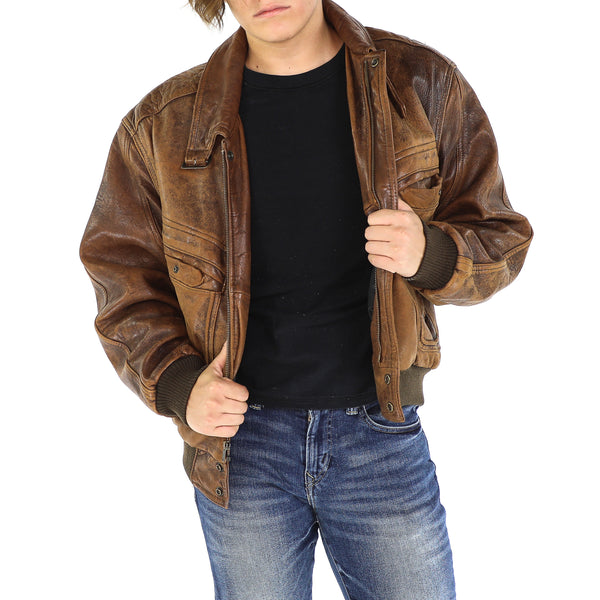 Tawny Brown Vintage Aviator Leather Jacket