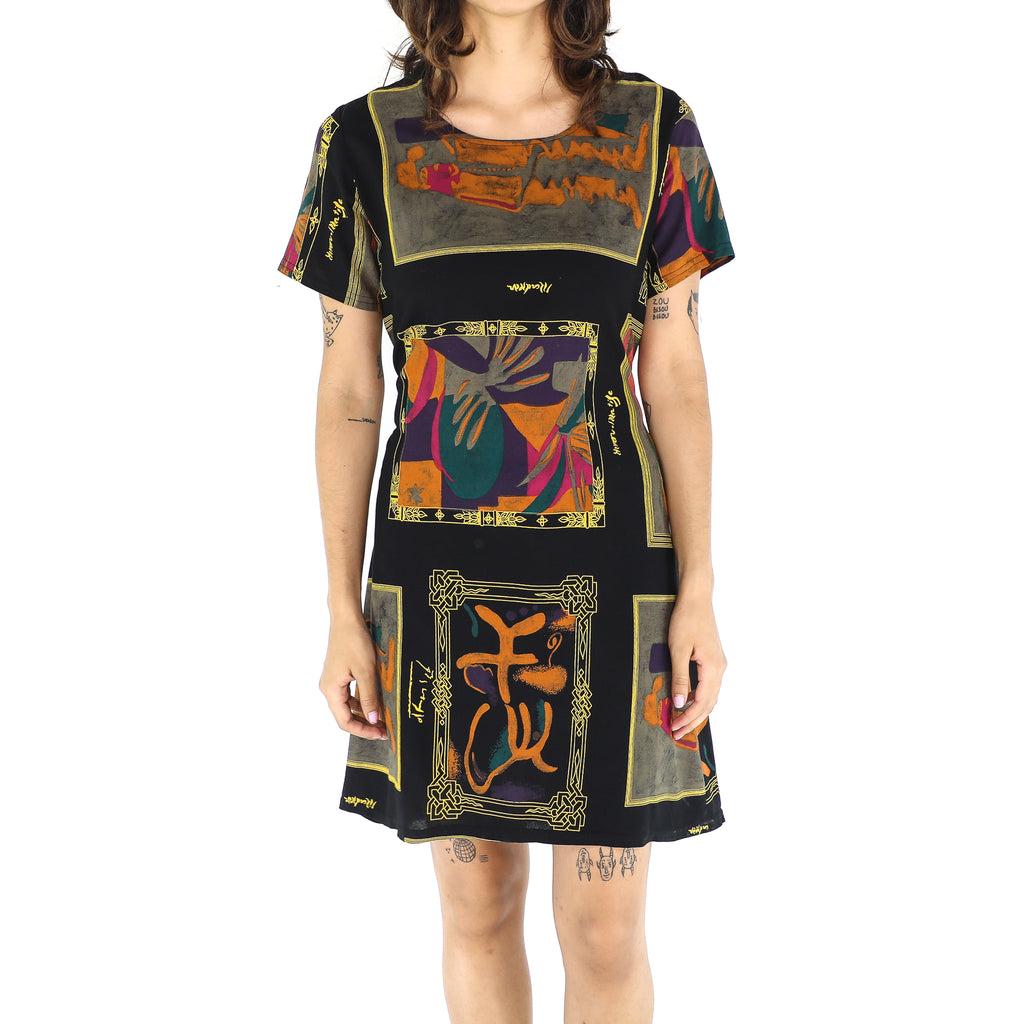 Black & Colorful Rayon Abstract Dress