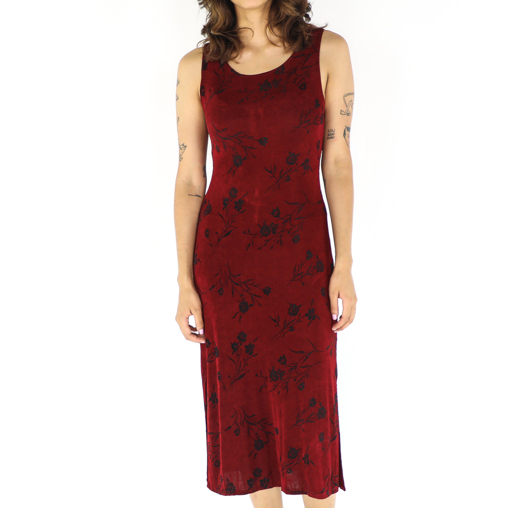 Burgundy & Black Floral Bodycon Dress