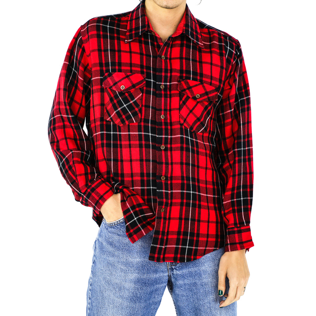 Candy Apple Red, Black & White Plaid Flannel