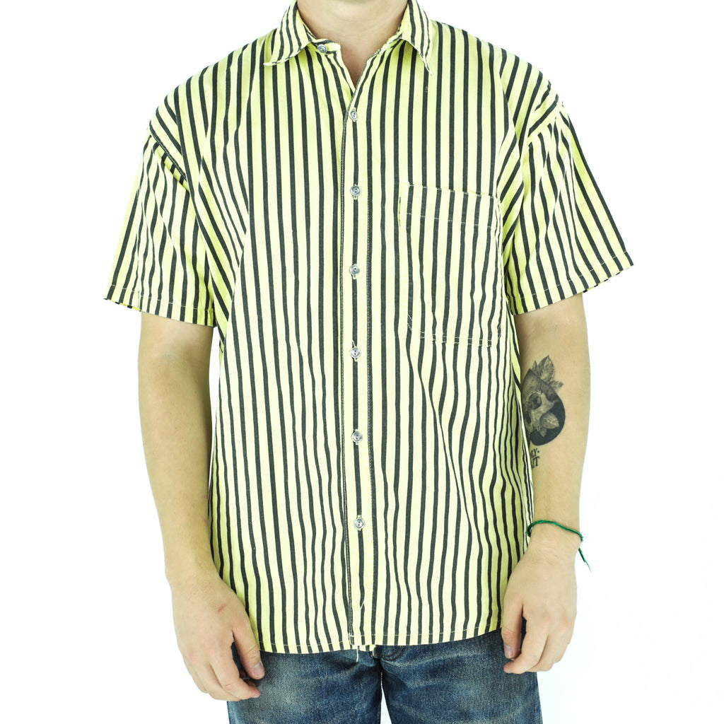 Black & Yellow Cotton Striped Shirt