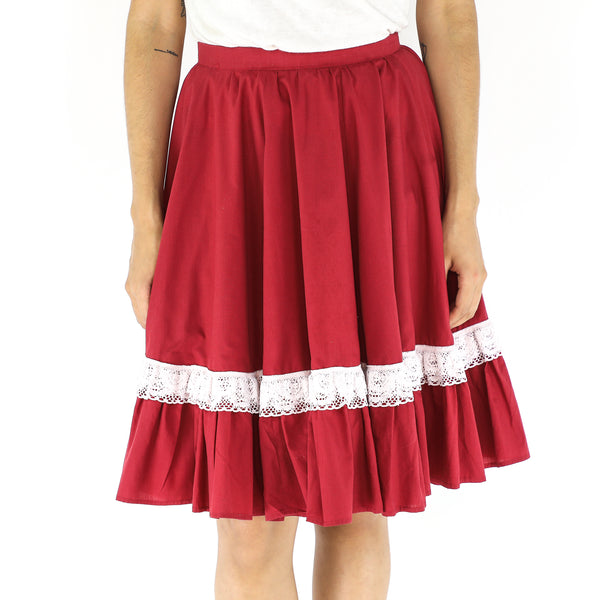 Red & White 60's Pleated Skirt