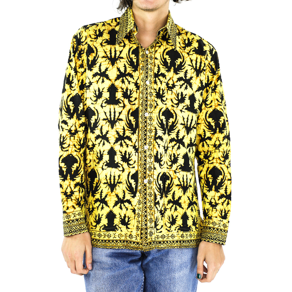 Black Visions In Yellow Cotton Shirt