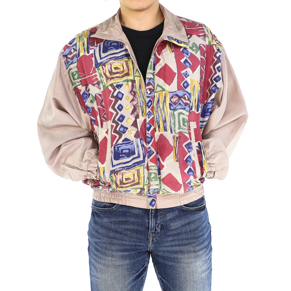 Primary Colors & Nude Silk Geometrical 80's Bomber Jacket