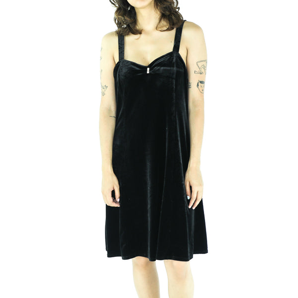 Black Velvet Grunge Cocktail Dress