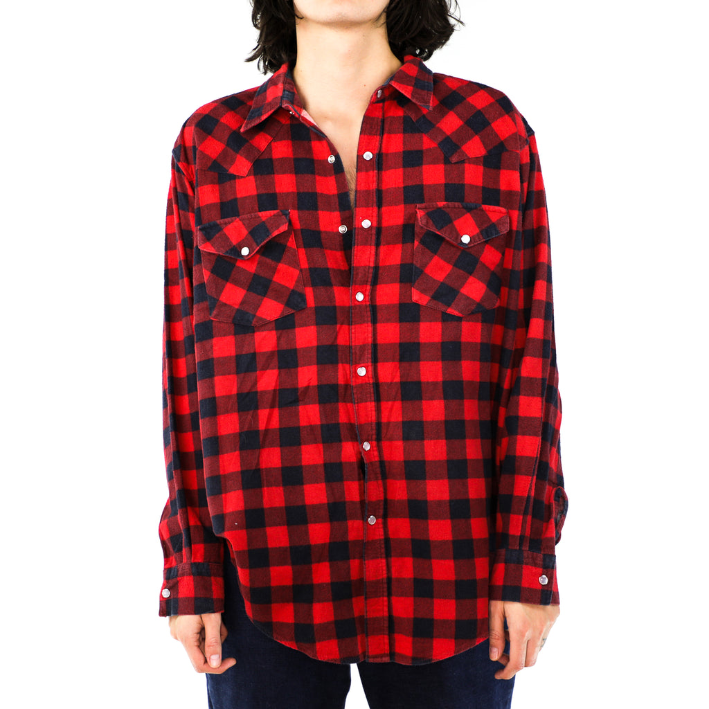 Candy Apple Red & Black Buffalo Check Cotton Flannel