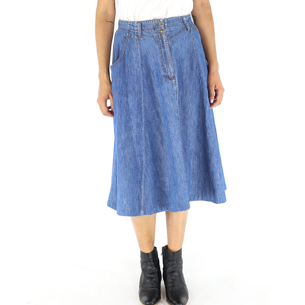 Denim Midi Pleated Skirt