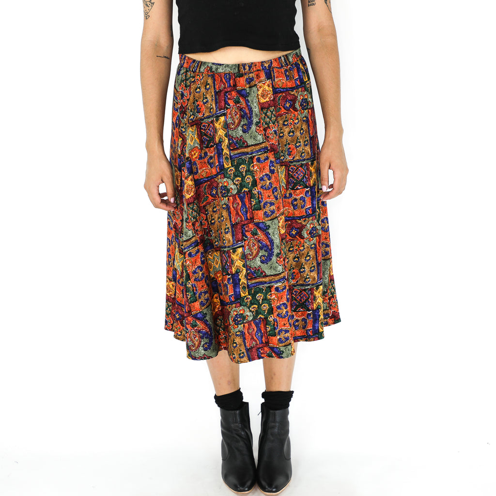Multicolor Rayon Abstract 80's Skirt