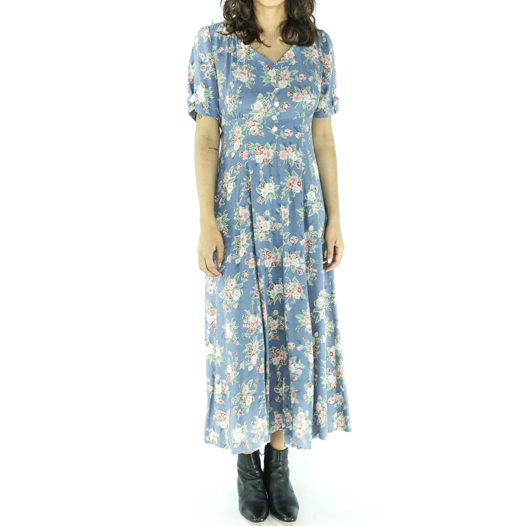 Baby Blue Rayon Floral Boho Dress