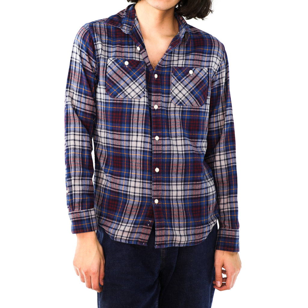 Yale Blue, Burgundy & Amber Plaid Cotton Flannel