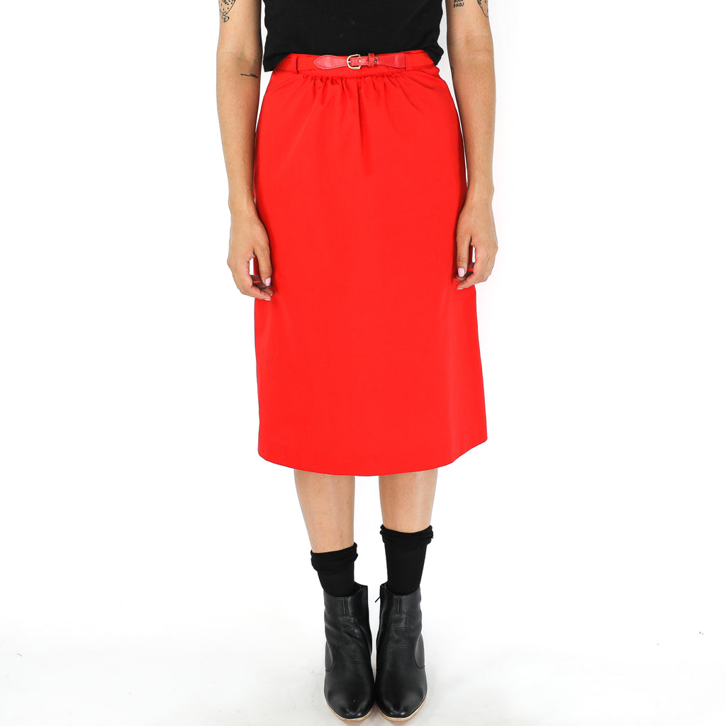 Red 70's Straight Skirt