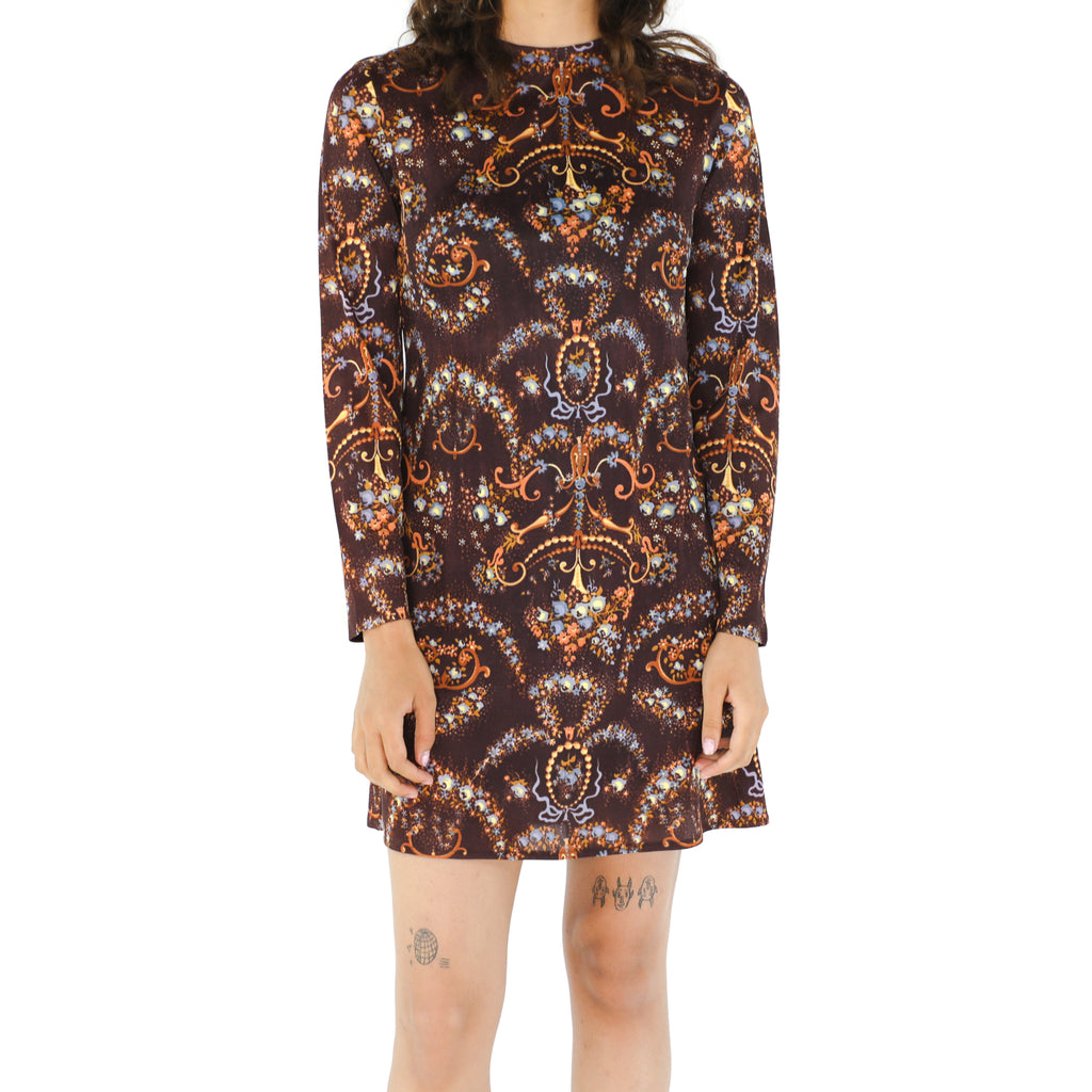 Brown Long Sleeve Mini Dress