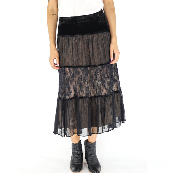 Black & Beige Silk Gypsy Skirt