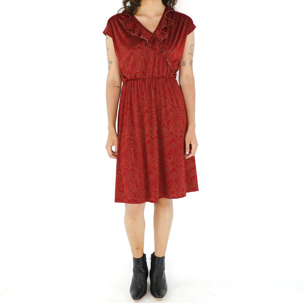 Red Paisley 70's Sheath Dress