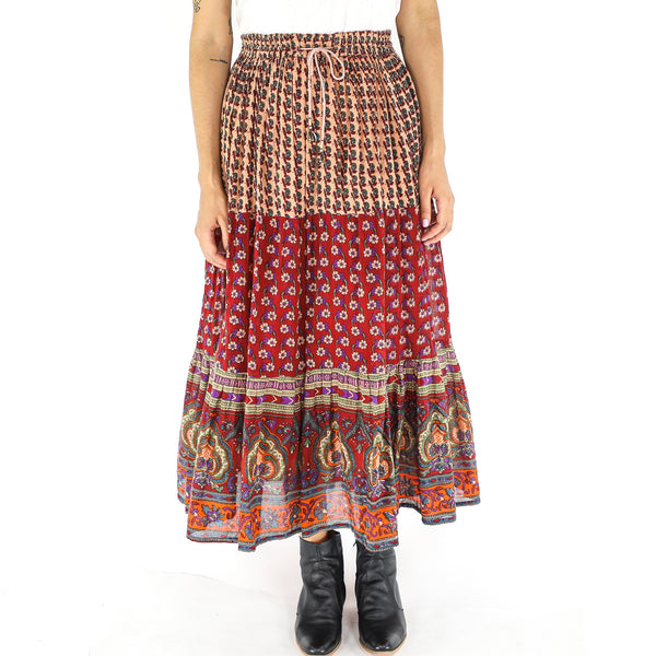 Vintage Cotton Patchwork Boho Skirt