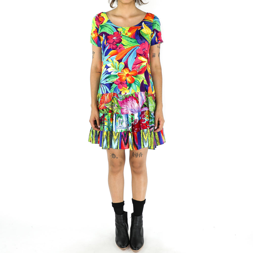 Colorful Flowers Rayon 80's Dress