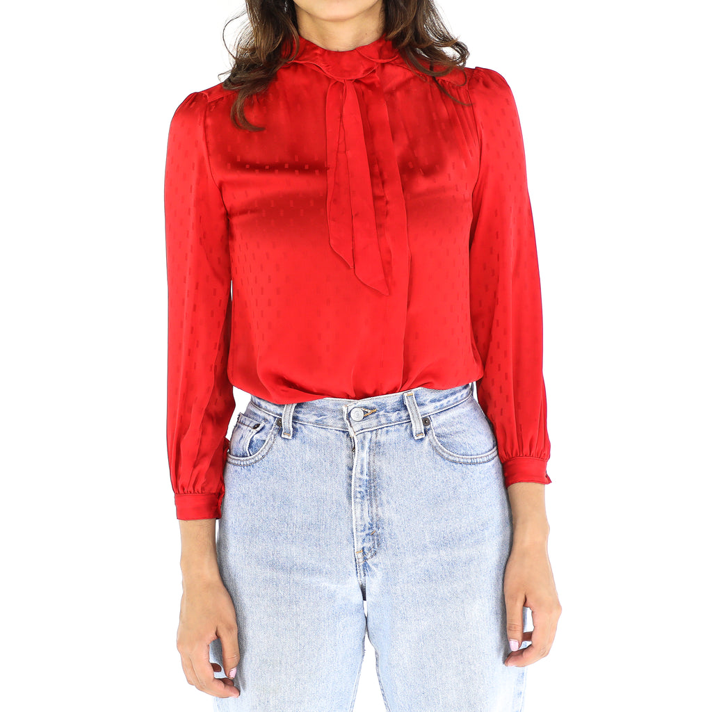 Red 60's Long Sleeve Blouse