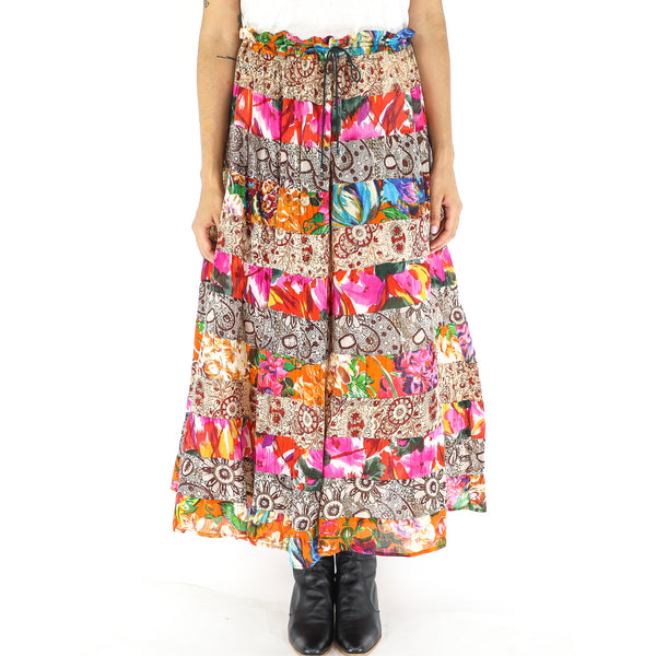 Multicolor Cotton Patchwork Maxi Skirt