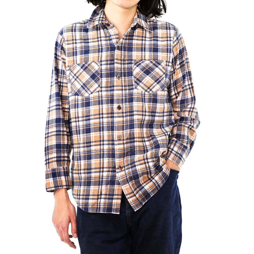 Sepia Yellow & Navy Blue Plaid Cotton Flannel