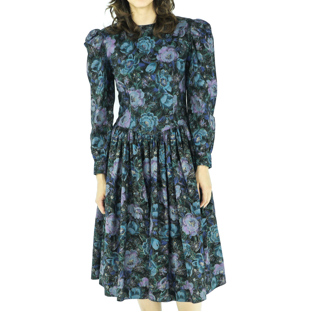 Vintage Floral Puff Sleeves 70's Dress