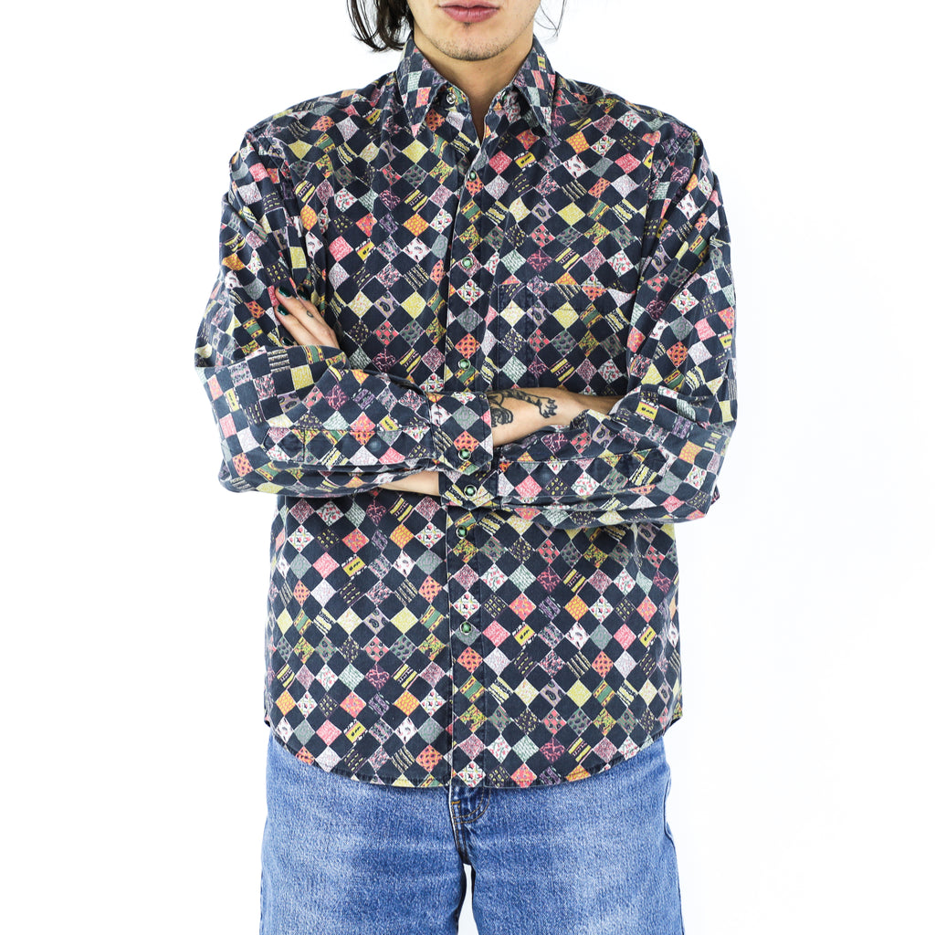 Patchwork Print Checkerboard 70's Cotton Shirt