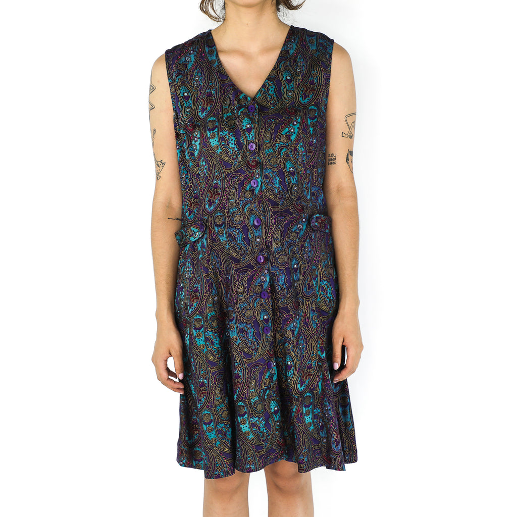 Purple & Cyan Rayon Paisley Dress