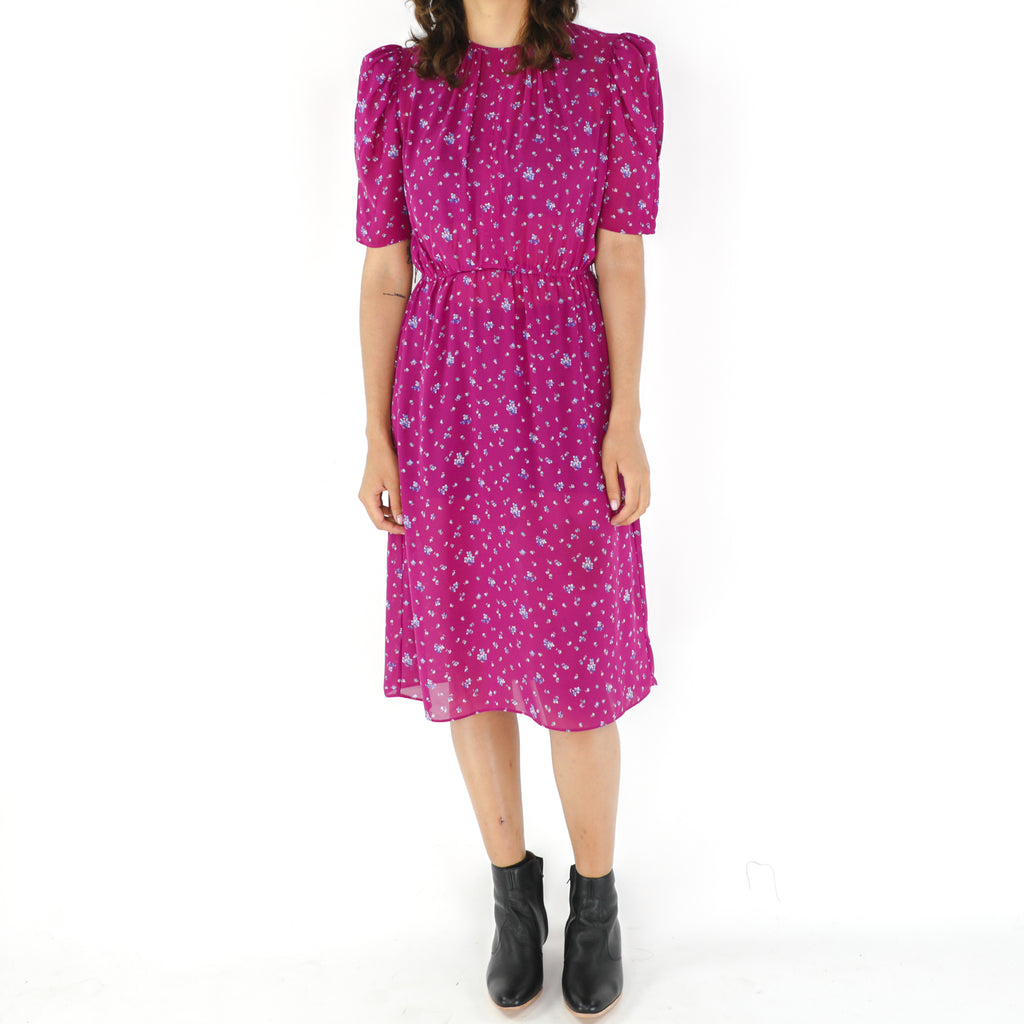 Red Violet 80's Ditsy Midi Dress
