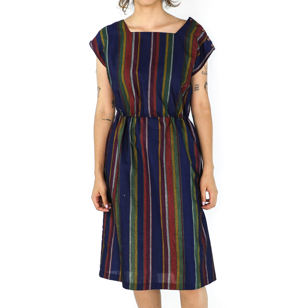 Multicolor Striped Cotton Sheath Dress