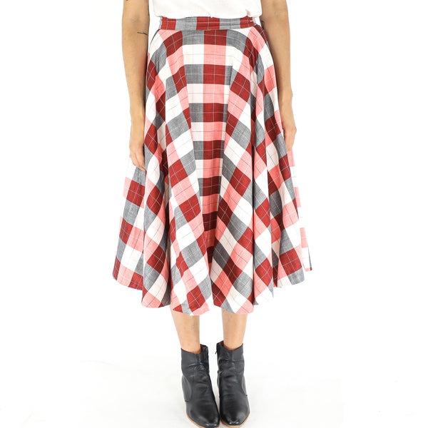 Red & Grey Argyle Check Midi Skirt
