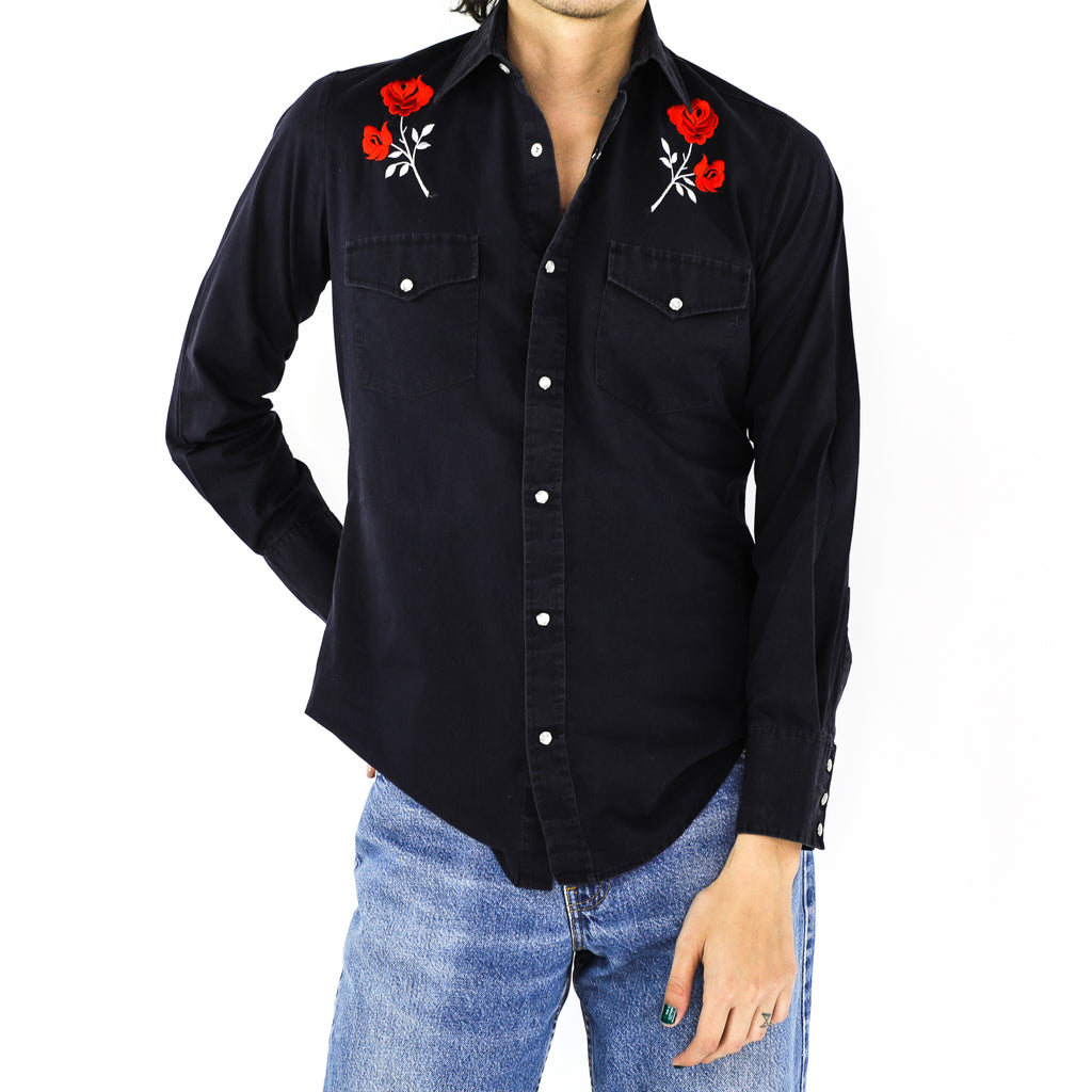 Ferrari Red Roses Black Cotton Western Shirt