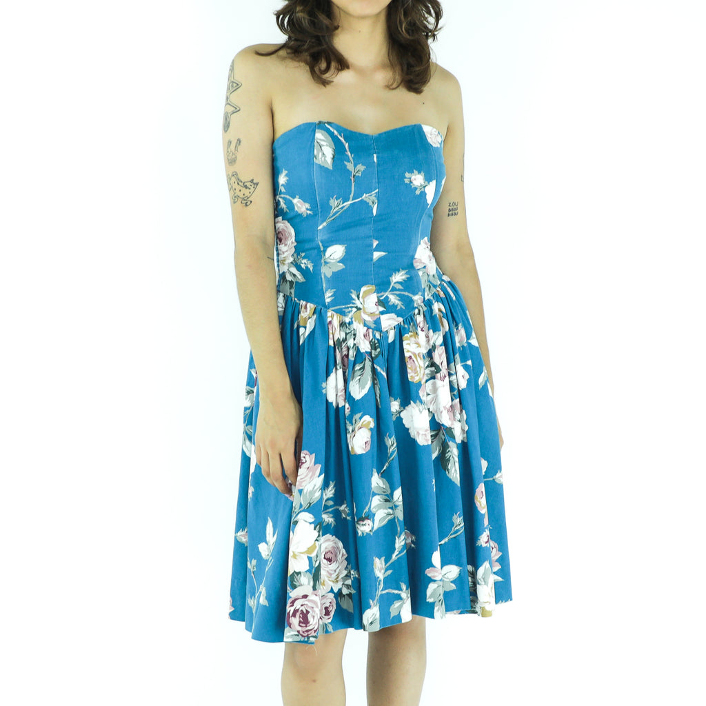 Azure Floral Cotton Strapless Dress