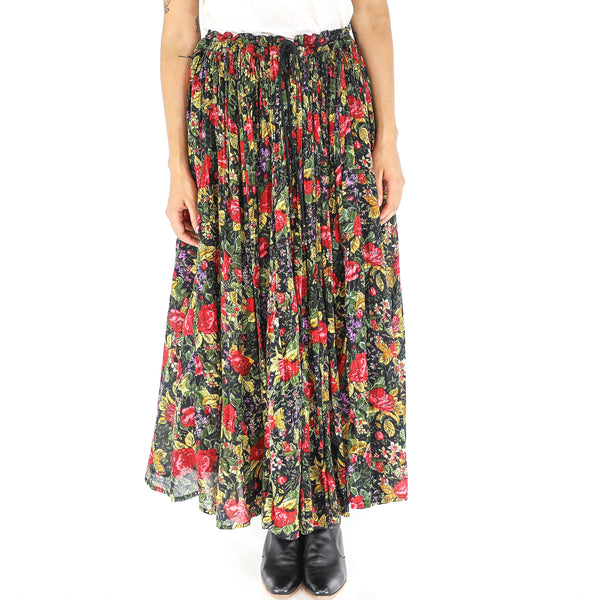 Floral Cotton 70's Maxi Skirt