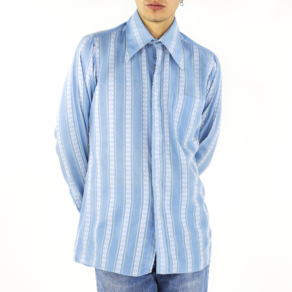 Maya Blue Diamond Trails Cotton 70's Shirt