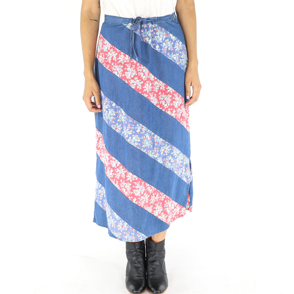 Denim Floral 70's Midi Skirt