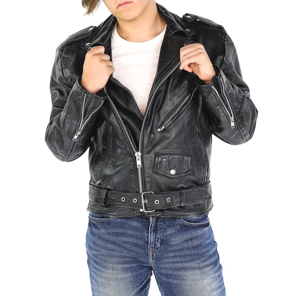 Black Leather Vintage 80's Biker