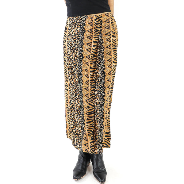 Animal Print Rayon Midi Skirt