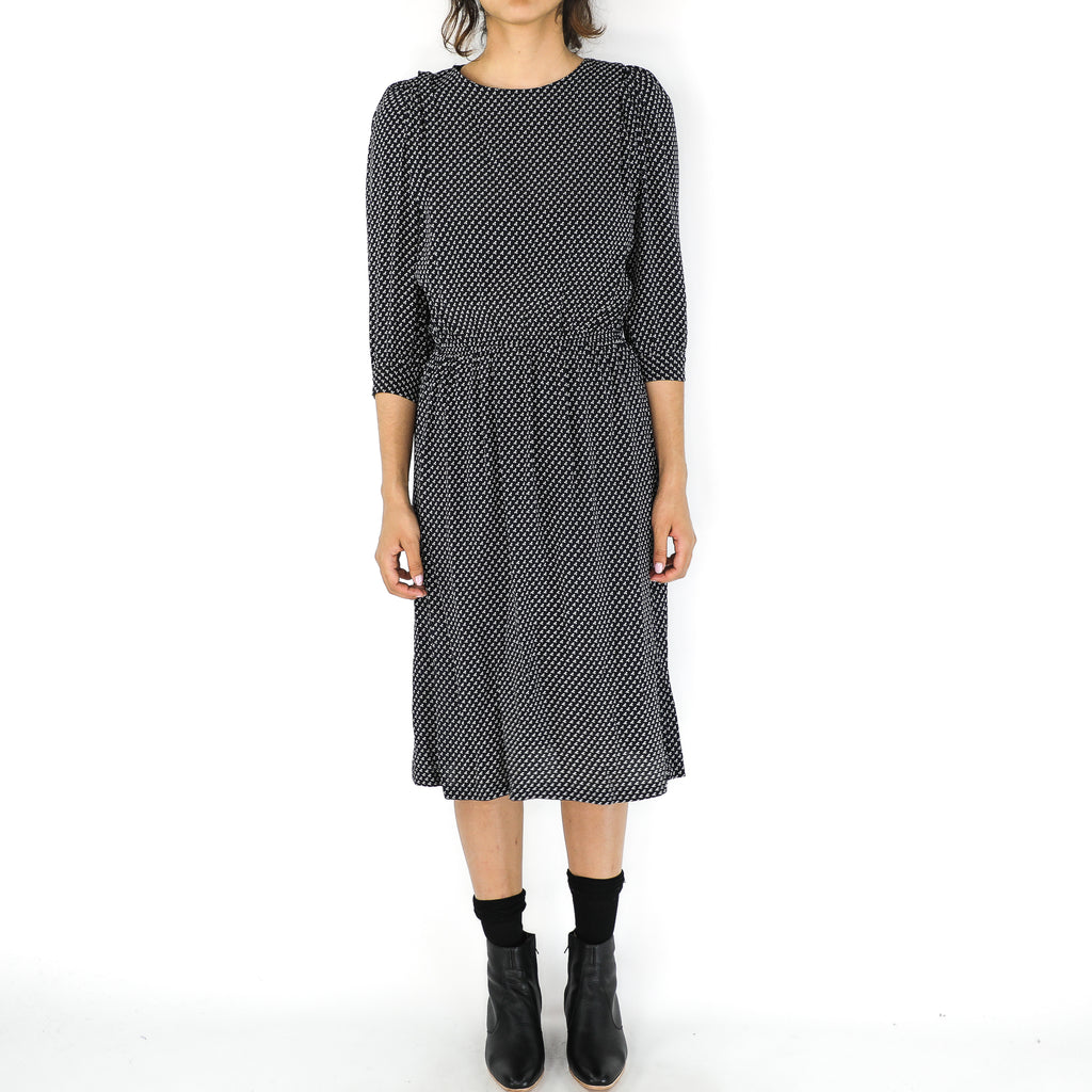 Black & White Rayon Fret Pattern Dress