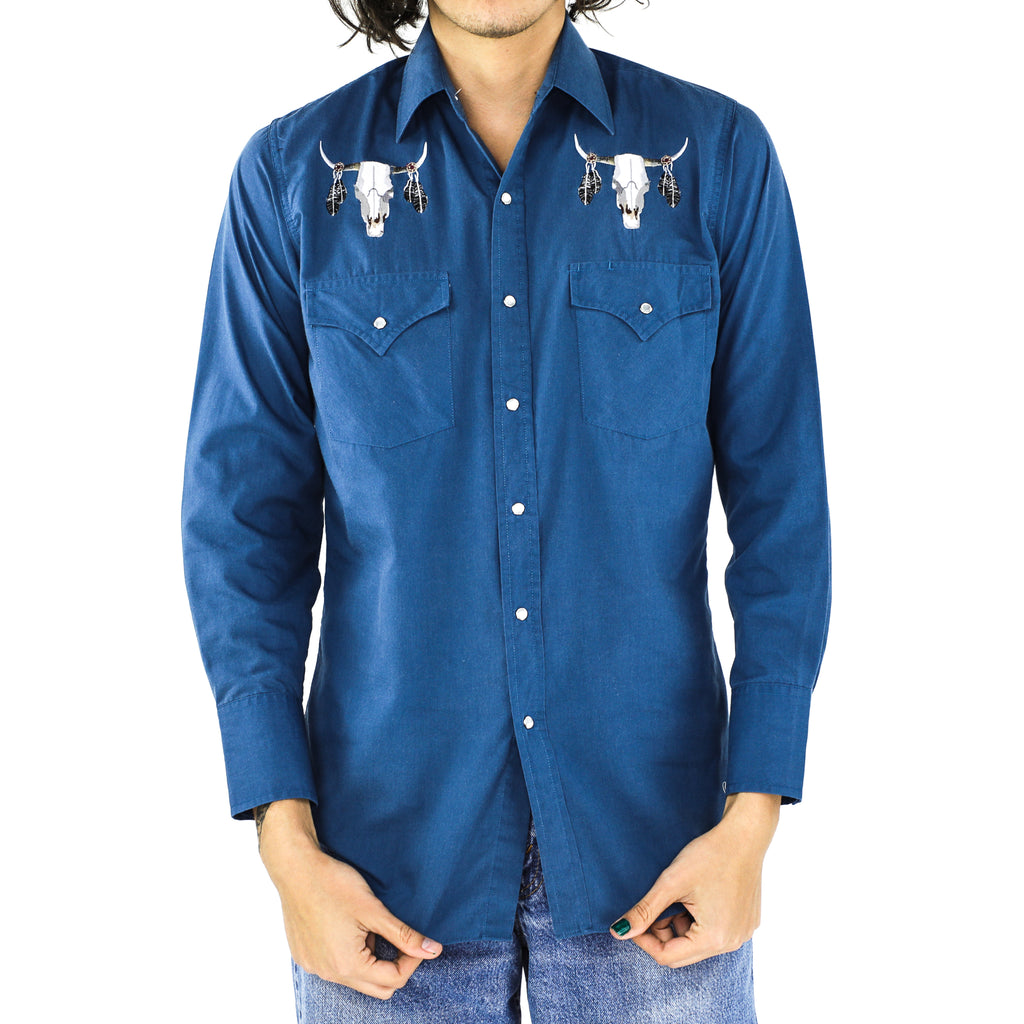 Bull Skull Yale Blue Native American Shirt
