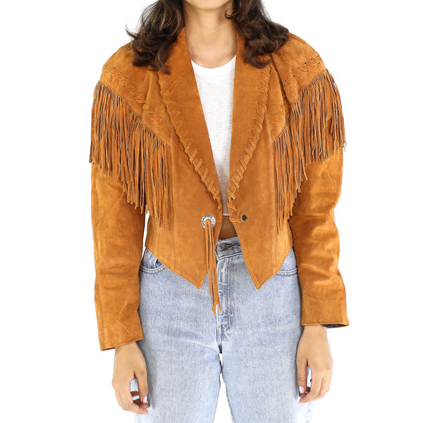 Copper Leather Fringe Jacket