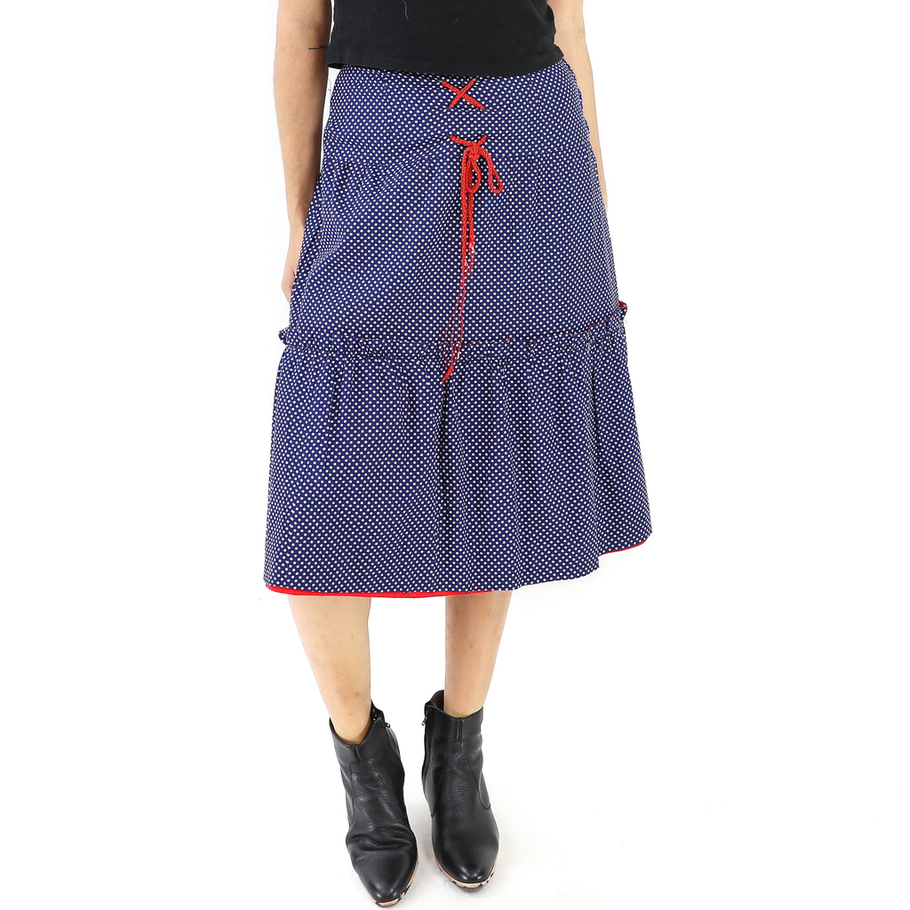 Navy Blue & Red Polka Dots Skirt