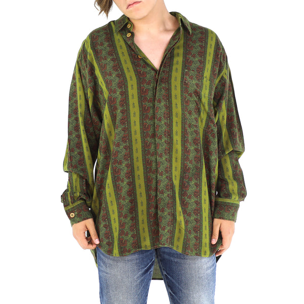 Green & Gingerbread Brown Abstract Stripes Shirt