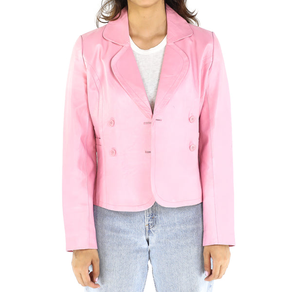 Pink Leather 80's Blazer