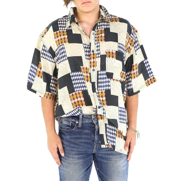 Harlequin & Diamond Squares Silk 80's Shirt