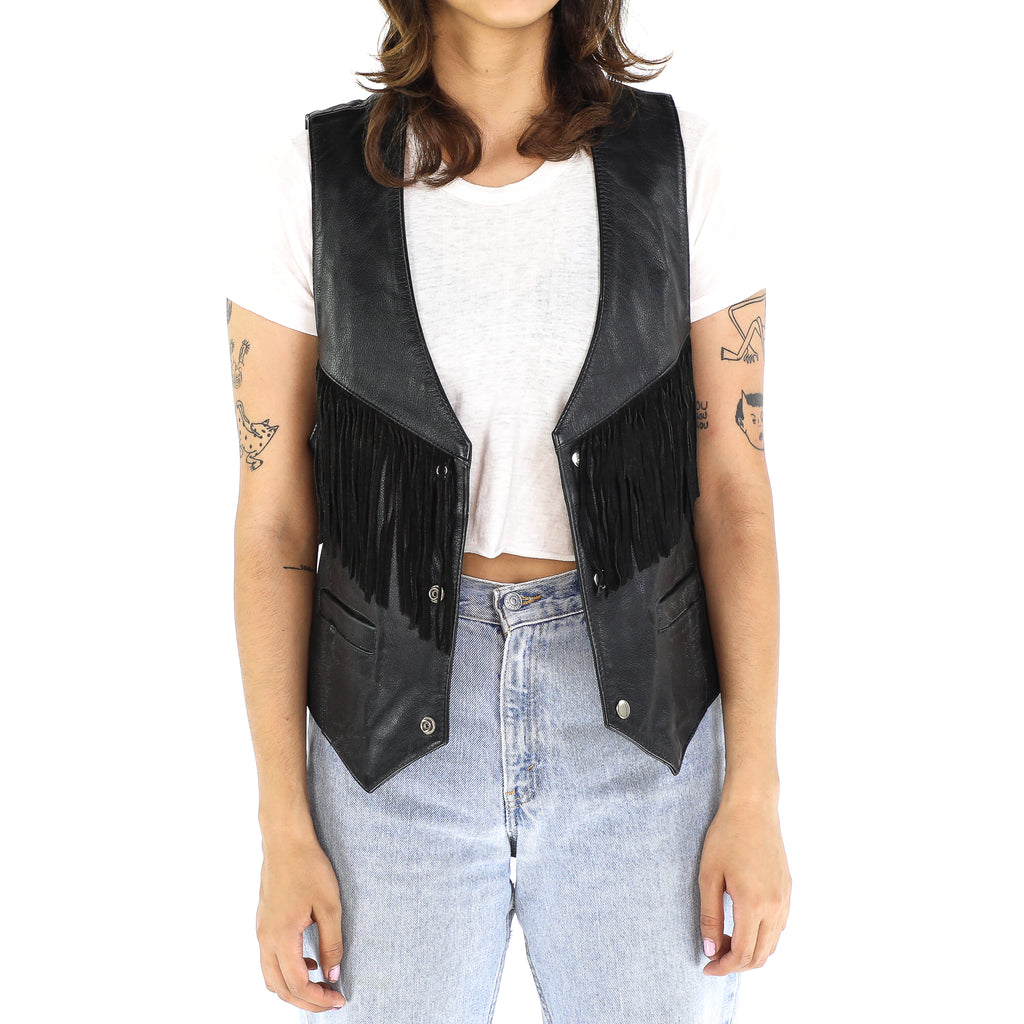 Black Leather 60's Fringe Vest