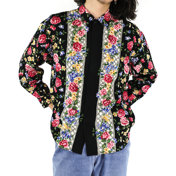 Vintage Floral Rayon Long Sleeve Shirt