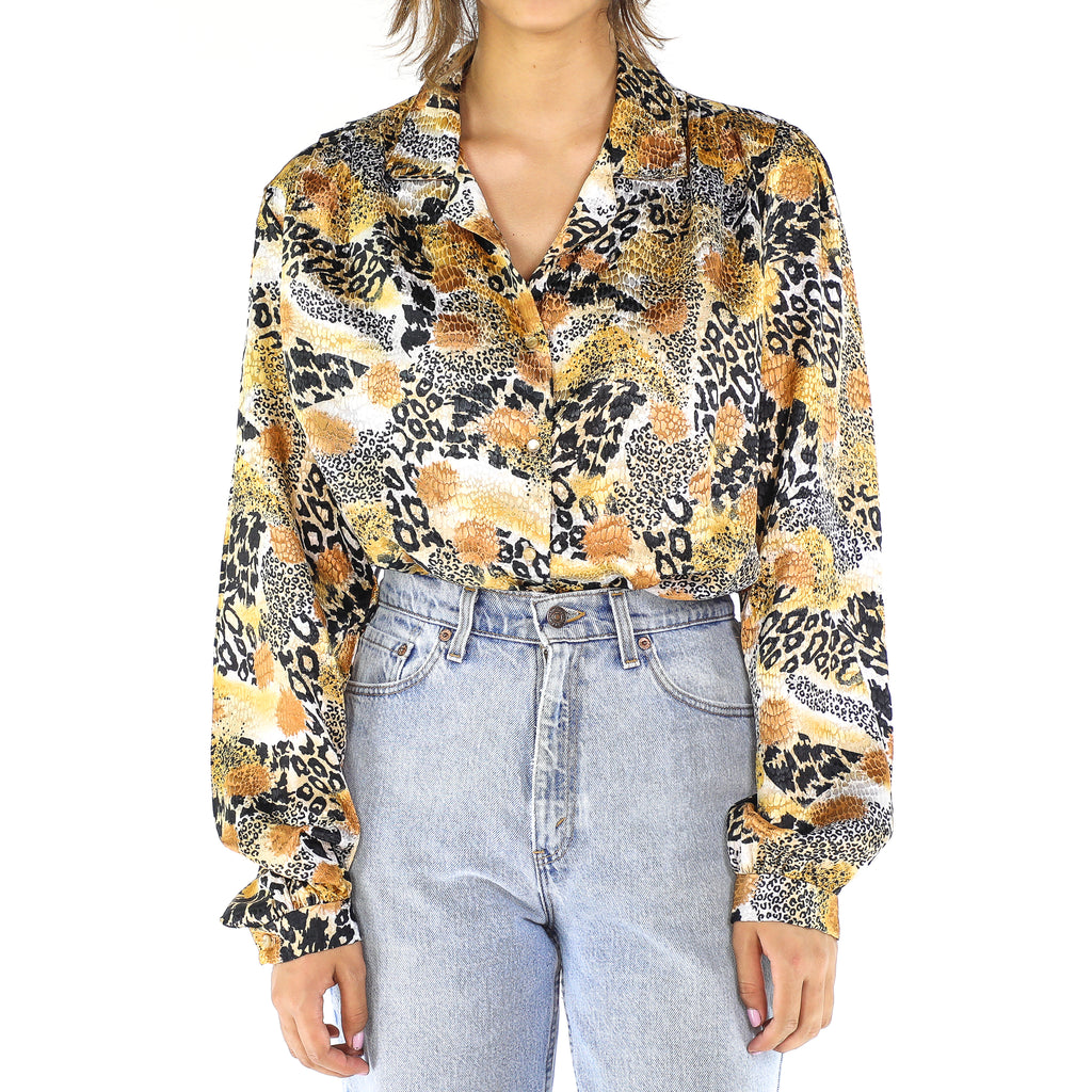 Animal Print 80's Long Sleeve Blouse