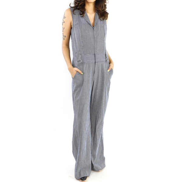 Striped Gray Sleeveless Jumpsuit