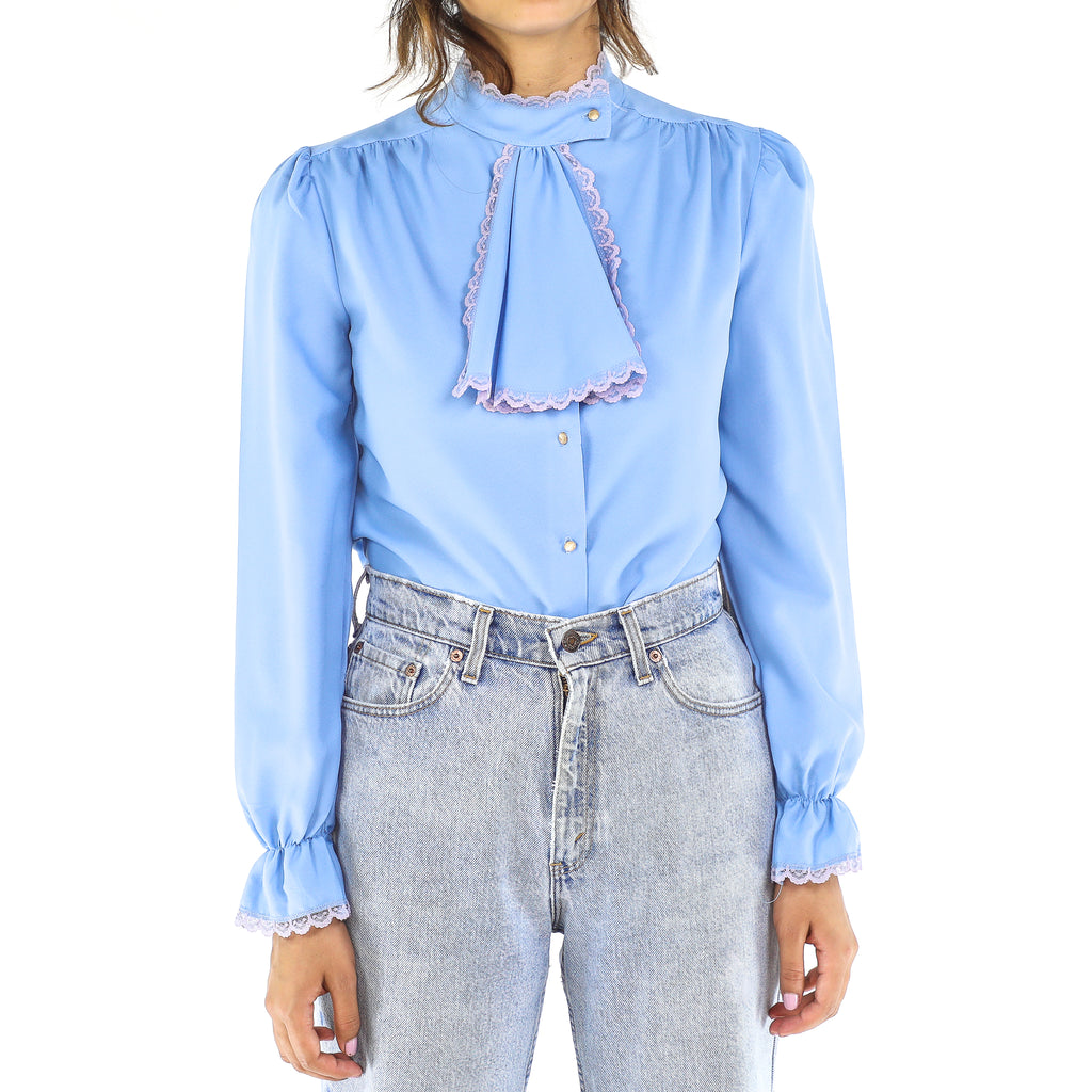Baby Blue & Pink Victorian Blouse