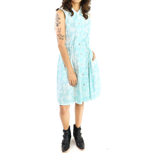 White Flowers Baby Blue Sheath Dress